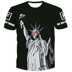 Fashion Men's Pullover Statue of Liberty Printed T-Shirt
