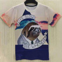 Casual Round Collar Sloth Printing T-Shirt For Men - COLORMIX