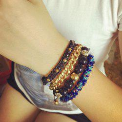 Multilayer Rhinestoned Beads Alloy Bracelet