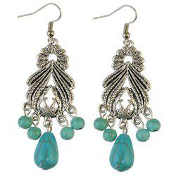 Pair of Stylish Faux Turquoise Leaf Alloy Drop Earrings