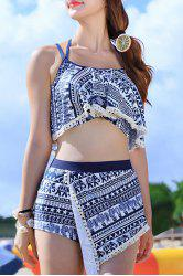 Stylish Halter Hollow Out Printed Three-Piece Women's Swimsuit - BLUE XL