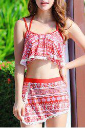 Stylish Halter Hollow Out Printed Three-Piece Women's Swimsuit -