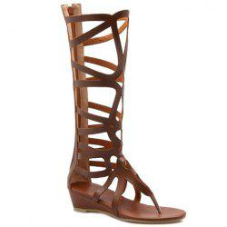 Flip Flop Styling Gladiator Tall Sandals - BROWN