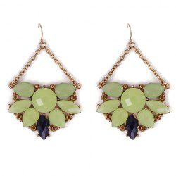 Pair of Stylish Faux Gems Hollow Out Drop Earrings For Women
