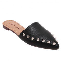 Casual PU Leather and Rivets Design Slippers For Women -