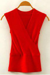 Chic V Neck Sleeveless Solid Color Women's Knitwear -