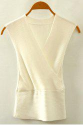 Chic V Neck Sleeveless Solid Color Women's Knitwear