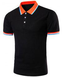 Color Block Splicing Design Turn-Down Collar Short Sleeve Polo T-Shirt For Men -