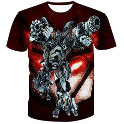 Fashion 3D Robot Printed Pullover T-Shirt For Men -