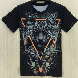 Casual Round Collar Tiger Printing T-Shirt For Men -