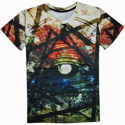 Casual Round Collar Colorful Printed T-Shirt For Men - COLORFUL