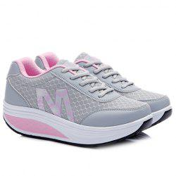 Stylish Lace-Up and Letter Design Athletic Shoes For Women - LIGHT GRAY