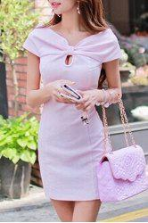 Stylish Short Sleeve V-Neck Twist Design Women's Dress -