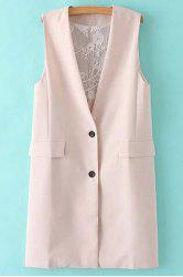 Stylish Collarless Solid Color Lace Spliced Women's Waistcoat -