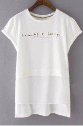 Casual Rolled Sleeve Letter Pattern Ligh Low Women's T-Shirt -