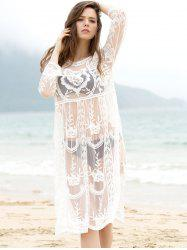 Trendy col rond manches 3/4 See-Through solide Cover-Up Femmes Couleur - Blanc