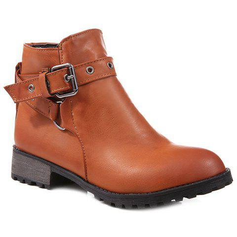 Hot Stylish Cross Straps and Zipper Design Women's Ankle Boots
