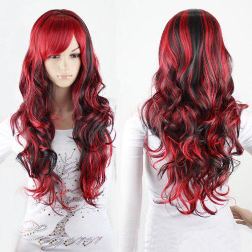 Online Charming Long Black Mixed Red Shaggy Curly Side Bang Synthetic Cosplay Wig For Women