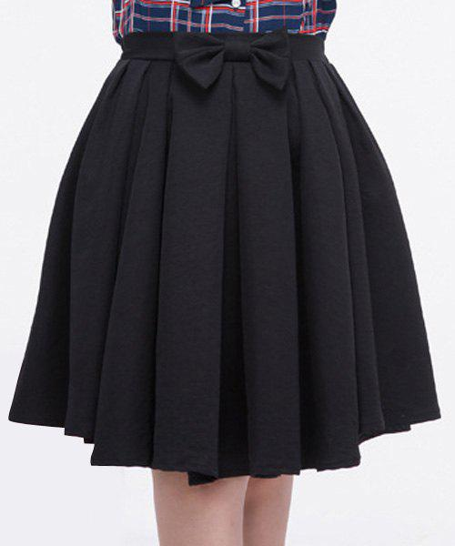 Discount Sweet Solid Color Waist Bowknot Plus Size Pleated Dress For Women