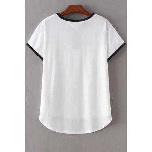 Stylish Round Neck Short Sleeve Angle Print Women's T-Shirt - WHITE L
