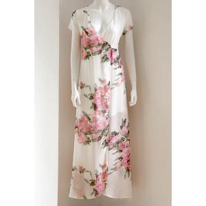 Short Sleeve Plunge Floral Long Wrap Dress