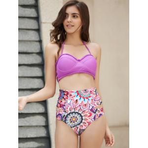 Halter   Floral Print High Waist Two Piece Set