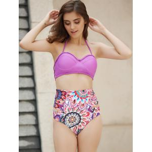 Halter   Floral Print High Waist Two Piece Set - PURPLE S