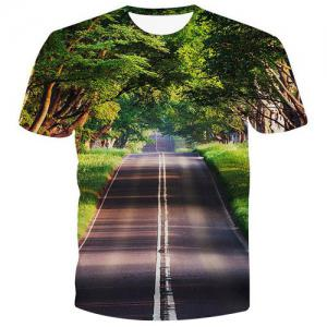 Fashion Pullover Road Printed Men's T-Shirt