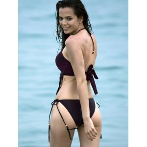 High Neck Halter Cut Out Fringe Bathing Suit - CLARET M