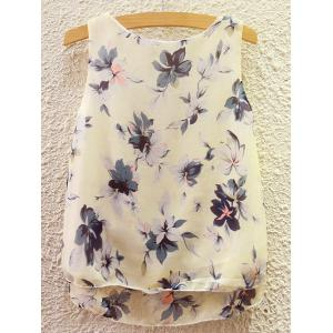 Sweet Scoop Neck Flower Print Tank Top For Women -