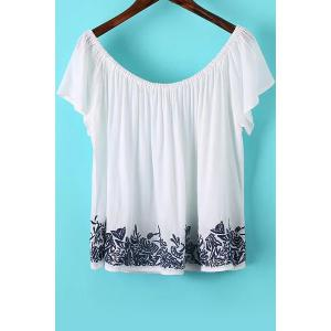 Stylish Short Sleeve Off The Shoulder Embroidered Women's T-Shirt -