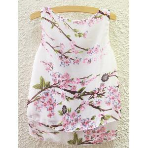 Sweet Scoop Neck Peach Blossom Print Tank Top For Women -