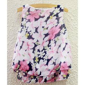 Sweet Scoop Neck Flower Print Chiffon Tank Top For Women -