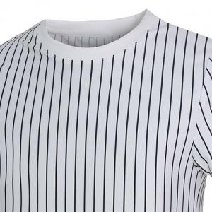 Vogue Round Neck Letters Applique Short Sleeves Fitted Striped T-Shirt For Men -