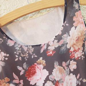Sweet Scoop Neck Floral Print Chiffon Tank Top For Women -