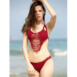 Chic Solid Color Cut Out Ripped Crochet Bikini For Women -