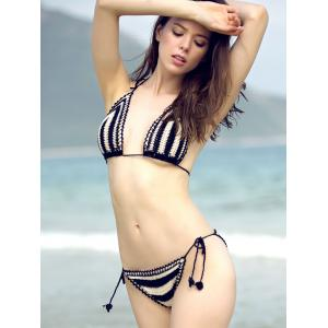 Chic Halter Hit Color Crochet Women's Bikini Set -