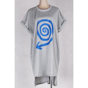Batwing Sleeve Print Tee Dress