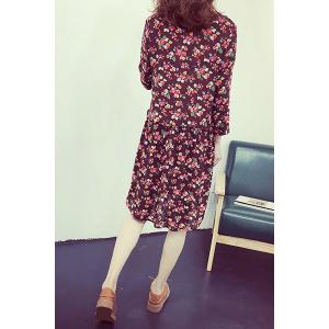 Sweet Jewel Collar Long Sleeve Floral Print Dress For Women -