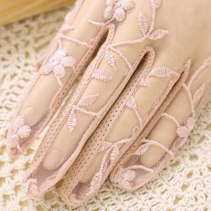 Pair of Chic Flower Embroidery Faux Pearl Pendant See Through Lace Gloves For Women -