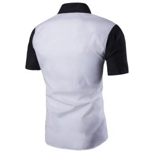 Special Button Fly Color Spliced Turn-down Collar Short Sleeves Shirt For Men -