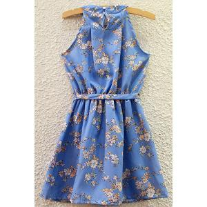 Refreshing Round Collar Floral Print Belted Summer Dress For Women -