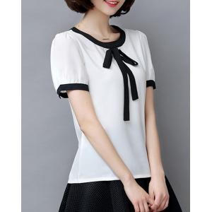 Fashionable Bow Tie Collar Short Sleeve Chiffon Blouse For Women -
