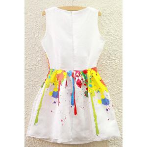 Cute Round Collar Colorful Summer Dress For Women - WHITE L