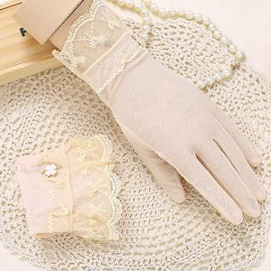 Pair of Chic Embroidery Lace Embellished Touch Screen Gloves For Women -