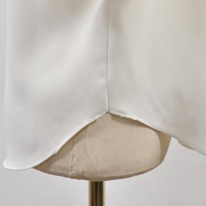 Simple Round Neck Bell Sleeve White Blouse For Women -