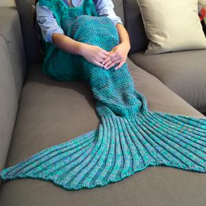 Stylish Drawstring Style Knitted Mermaid Design Sleeping Bag Blanket - Lake Blue
