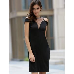 Women's Stylish Round Neck Voile Splicing Hollow Out Dress -