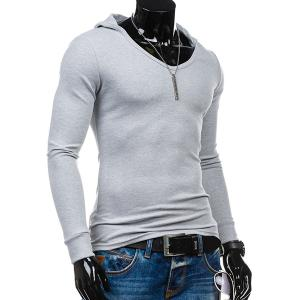 Slimming Hooded Solid Color Long Sleeves T-Shirt For Men -