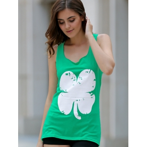Refreshing Clover Printed Loose Tank Top For Women -